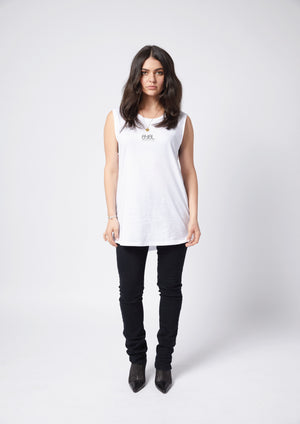 Nelly Tank. White with black print.