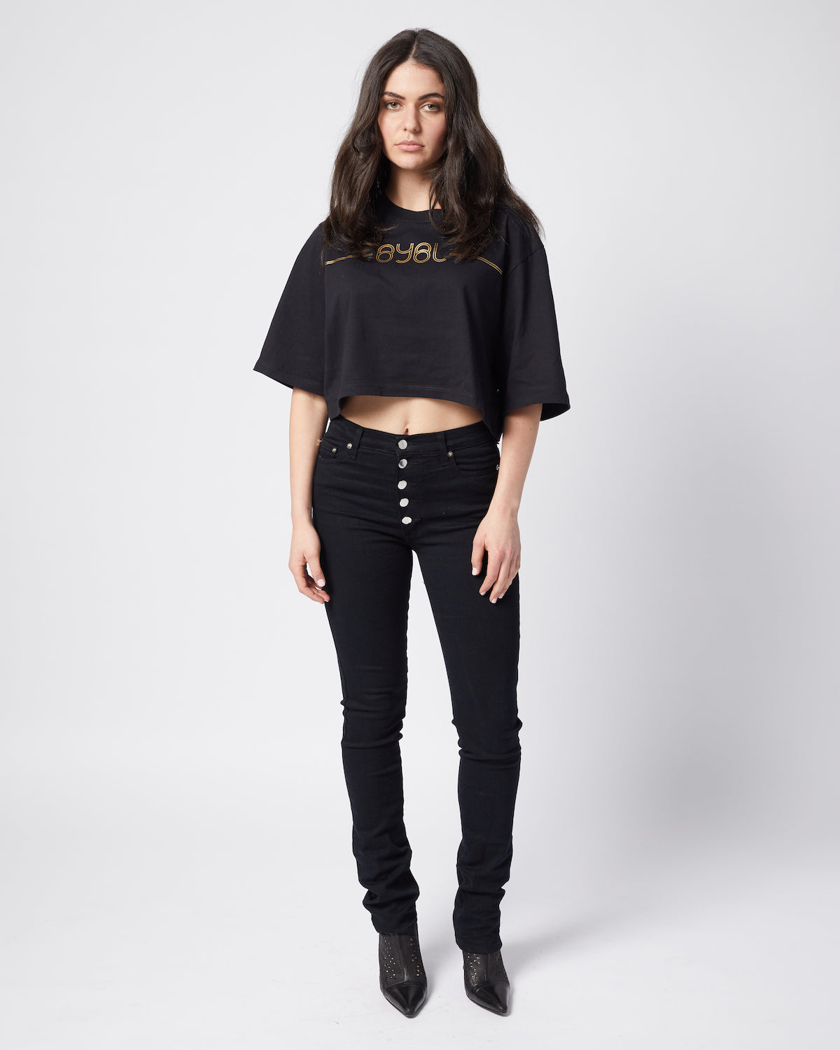Carmen Crop Tee. Black with gold print.