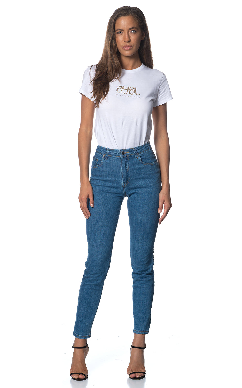 Meg Jean. Stretch. High Rise. Soft Blue Wash