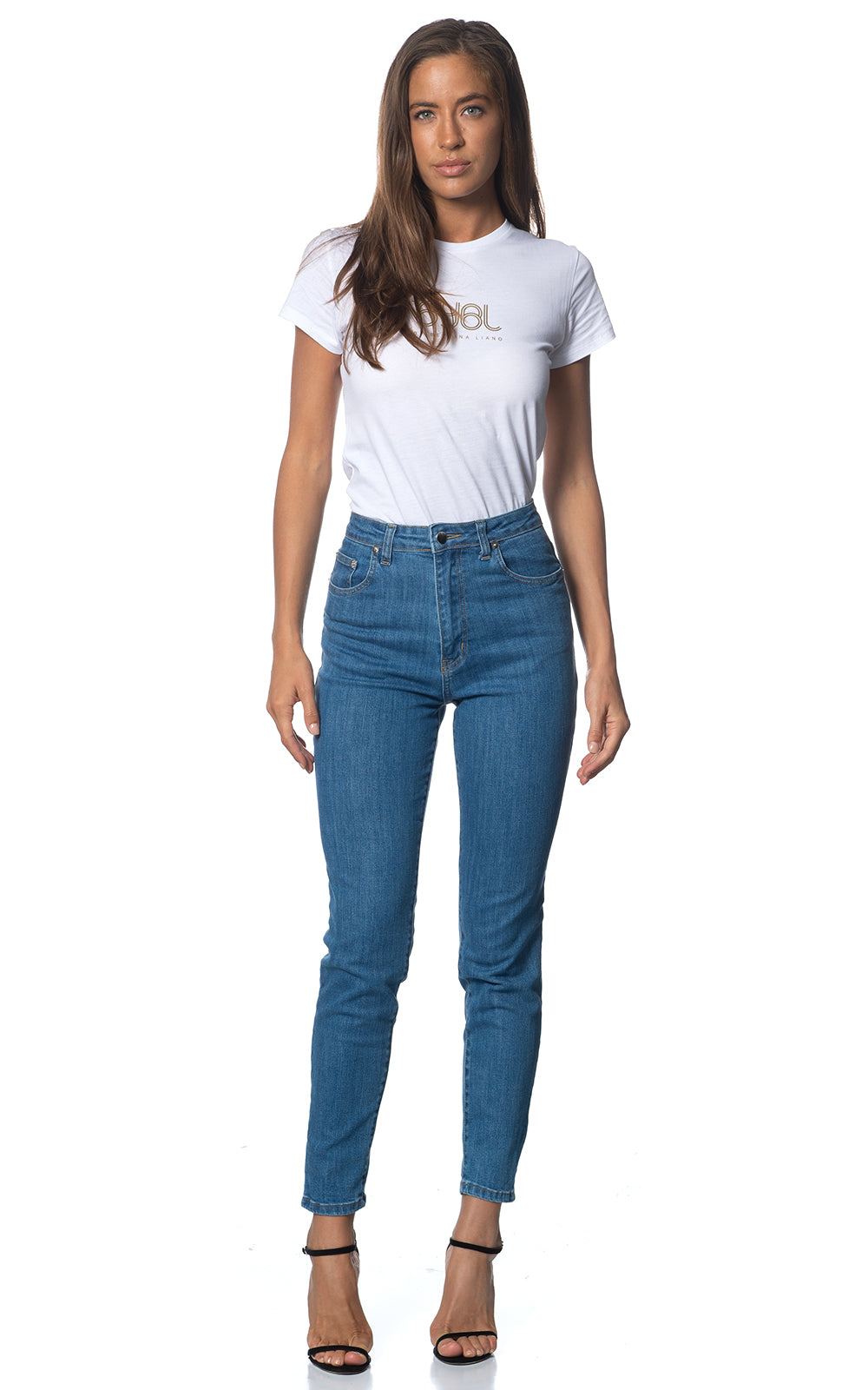 Halo Jean. Stretch. High Rise. Soft Blue Wash