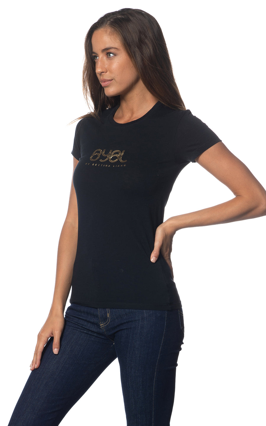 Lucy Tee. Black. Matt gold print