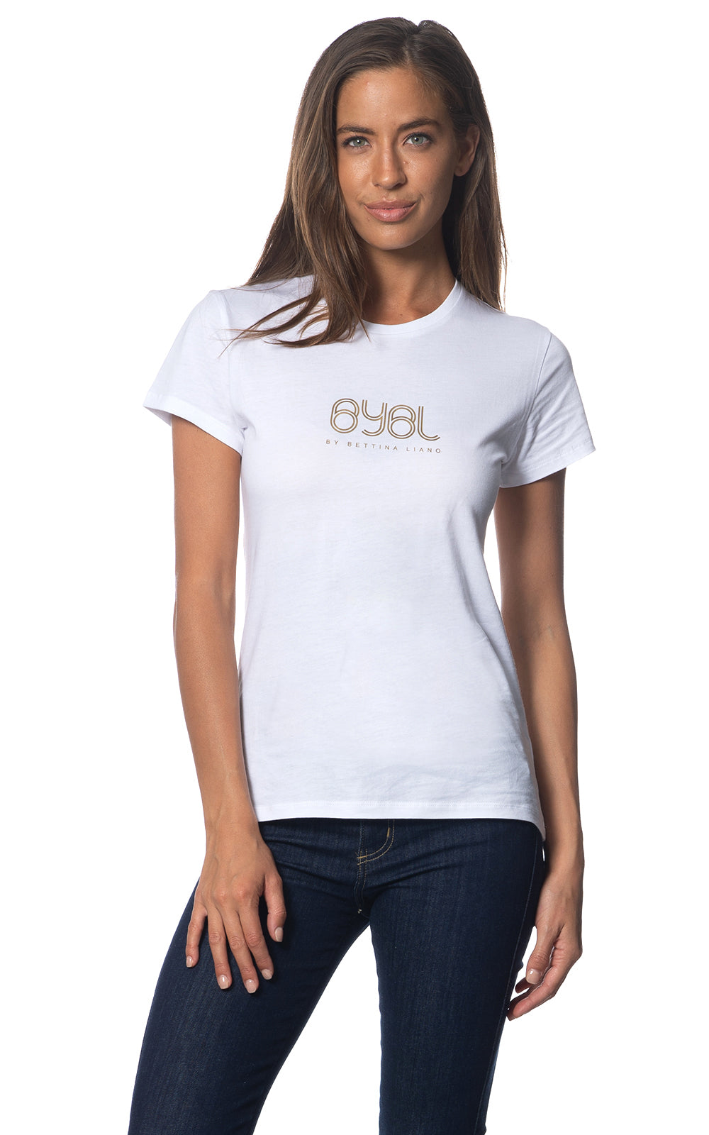 Lucy Tee. White with gold Logo print