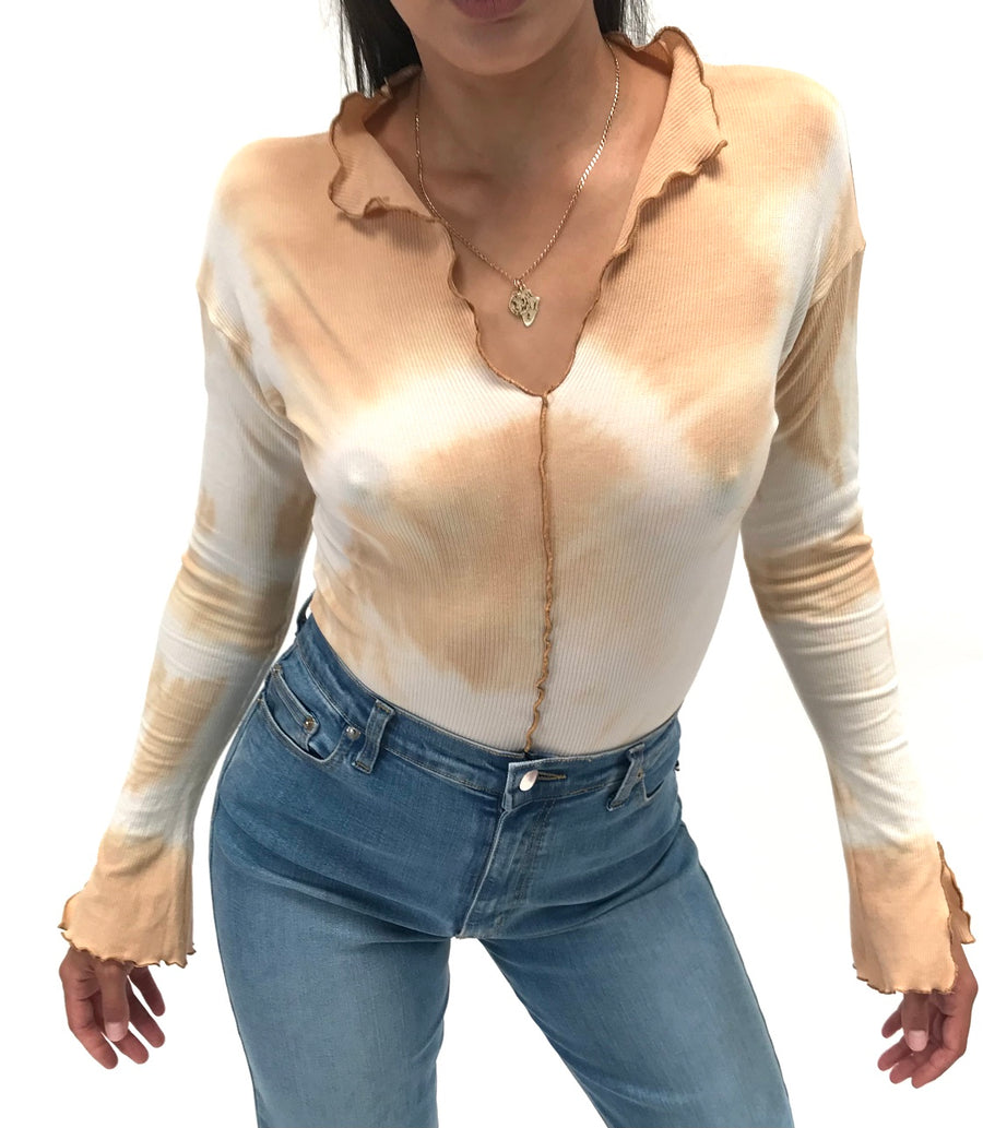Fly Ribbed  Body Shirt.  Tie Dye Tan