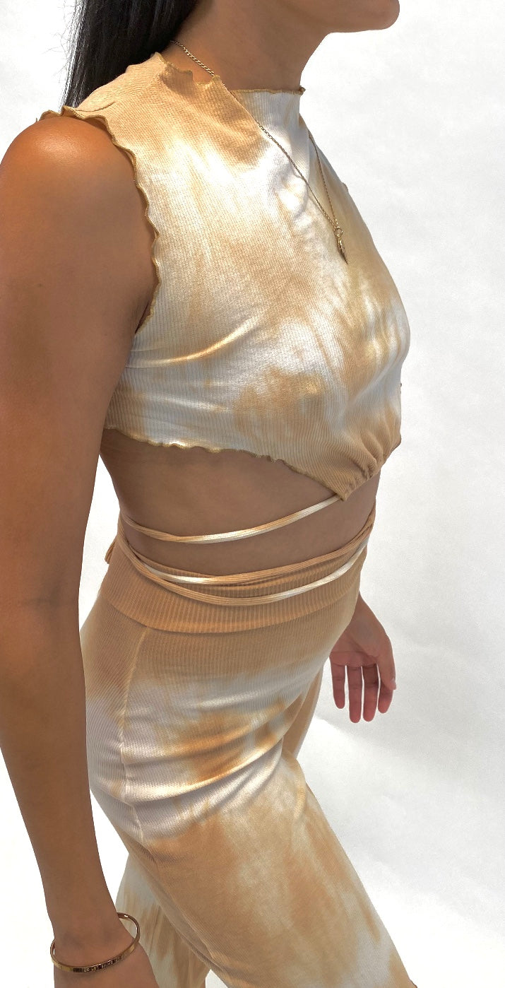 Rib Cage Shell Top. Hand Dye Tan