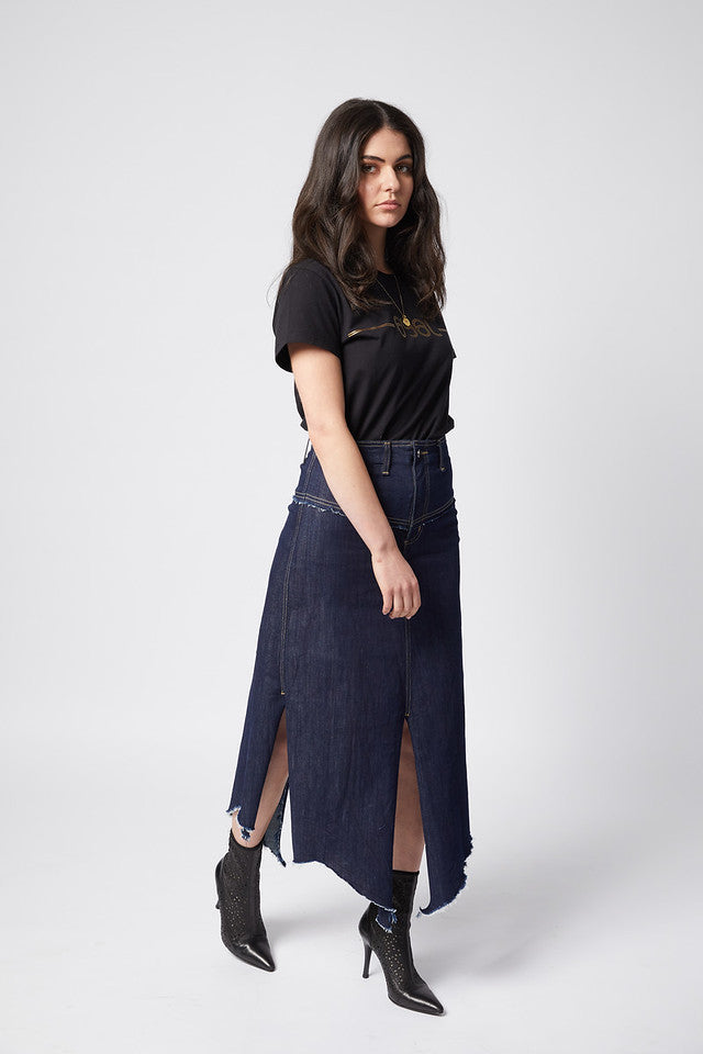 Fray Today Maxi Skirt. Stretch. Blue Heights