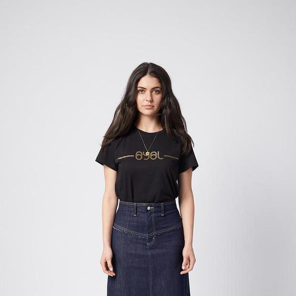 Lucy Tee. Black with gold print