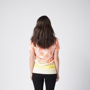 Lucy Tee. Black Tie Dye with gold print.