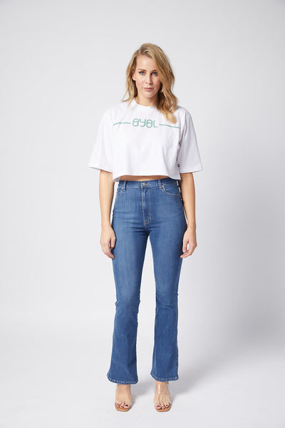 Carmen Crop Tee. White with green print