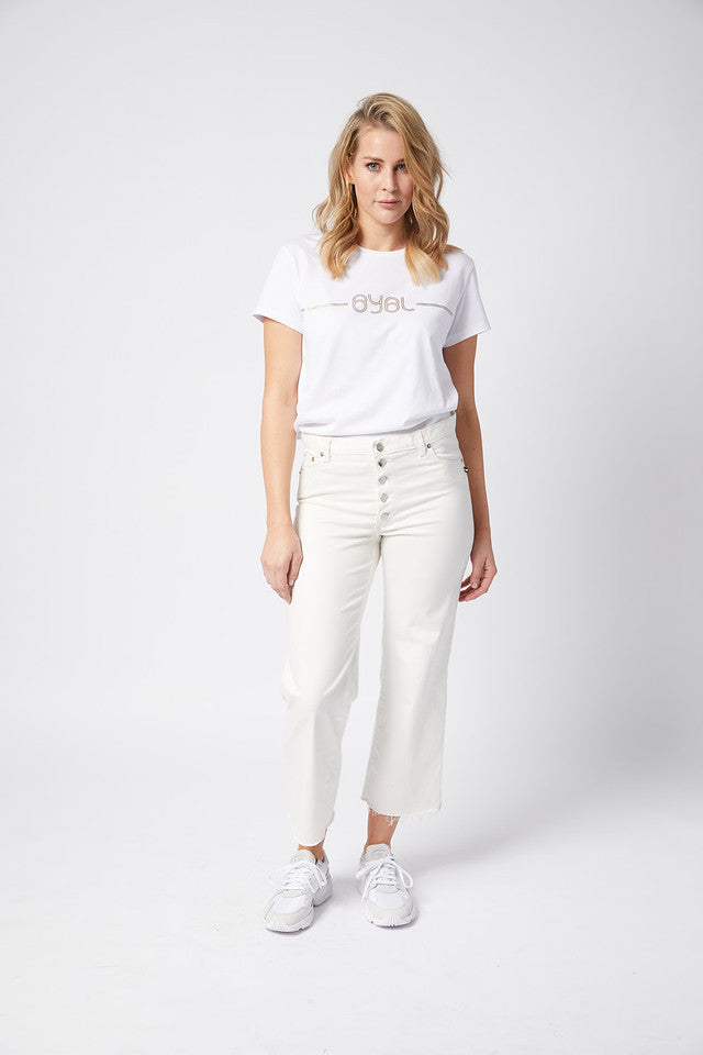 Hanger Jean. Stretch. Silky White
