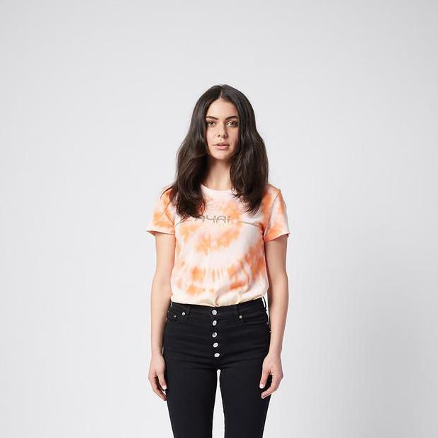 Lucy Tee. Orange Tie Dye with gold print