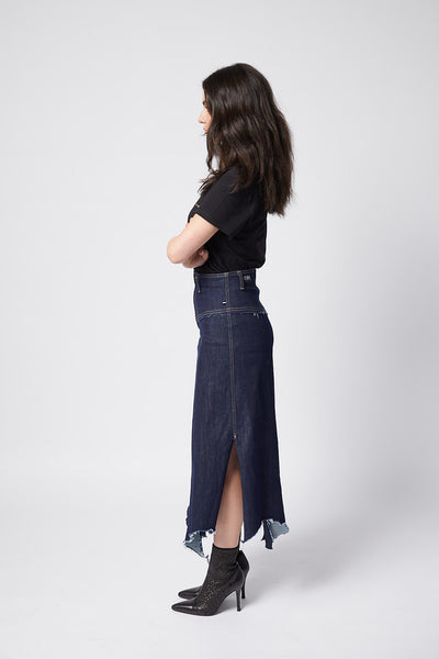 Fray Today Maxi Skirt. Empire Blue