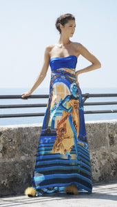 LONG DRESS CASINO STAIRS BLUE AND ORANGE SILK