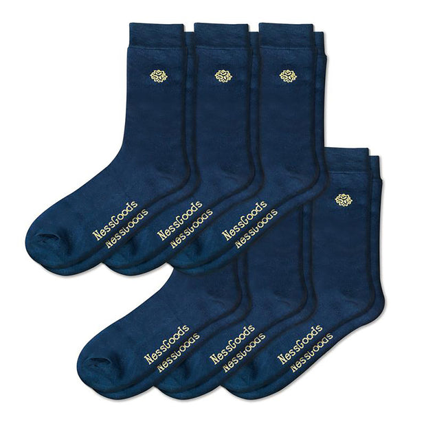 NessSocks™ 6-Pack Men's Bamboo Fiber Antibacterial Dress Socks (M) - Navy
