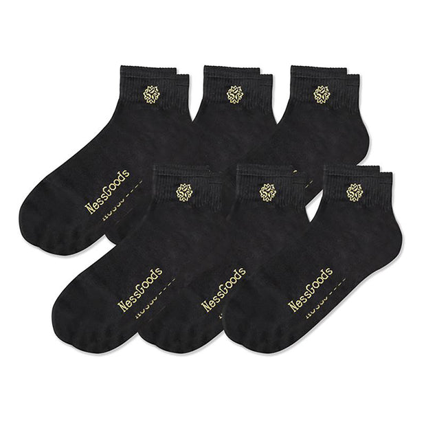 NessSocks™ 6-Pack Men's Bamboo Fiber Antibacterial Athletic Socks (M) - Black