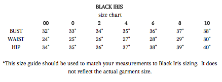 Black Iris clothing size chart