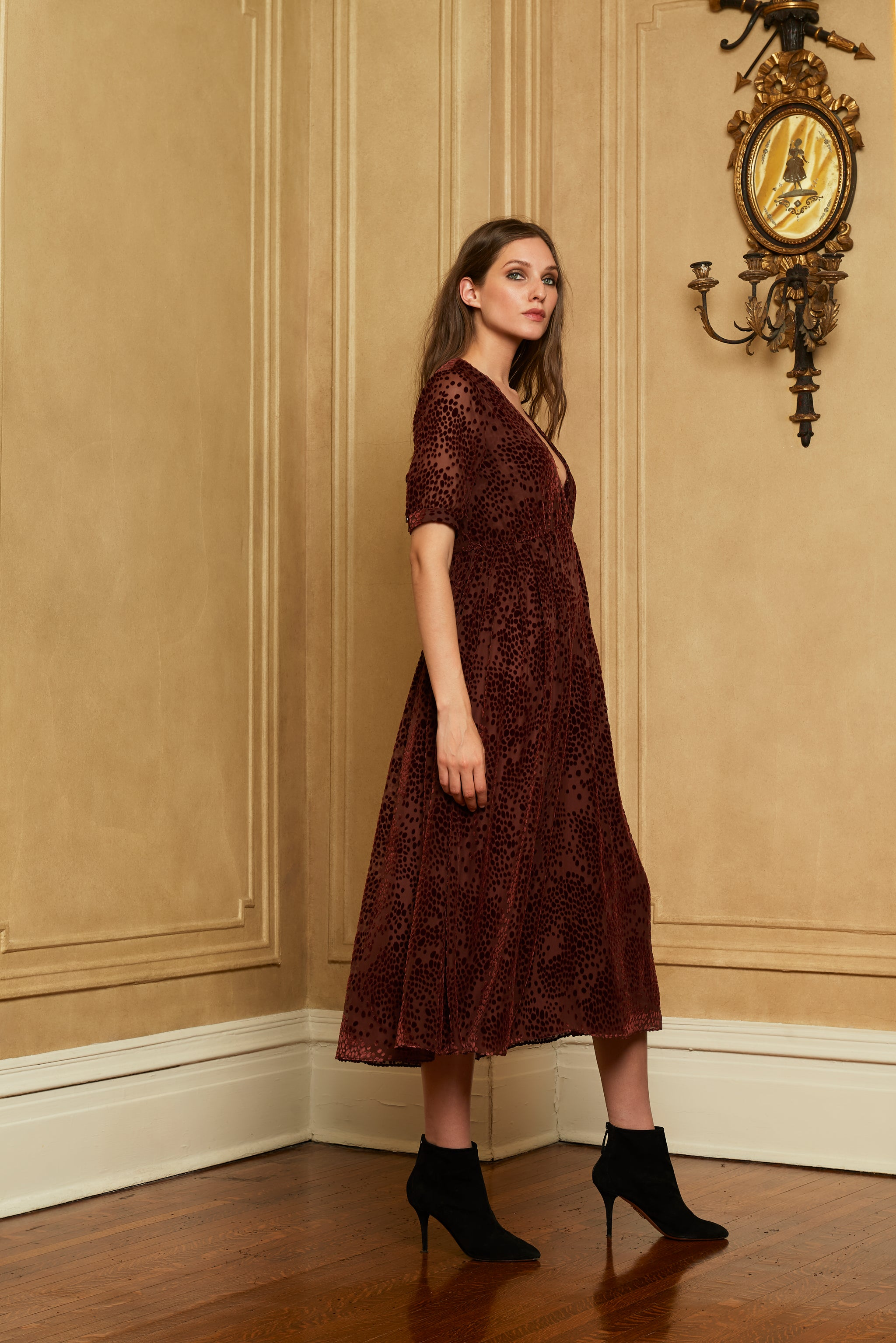 The Ivy Dress | Rust Velvet Burnout