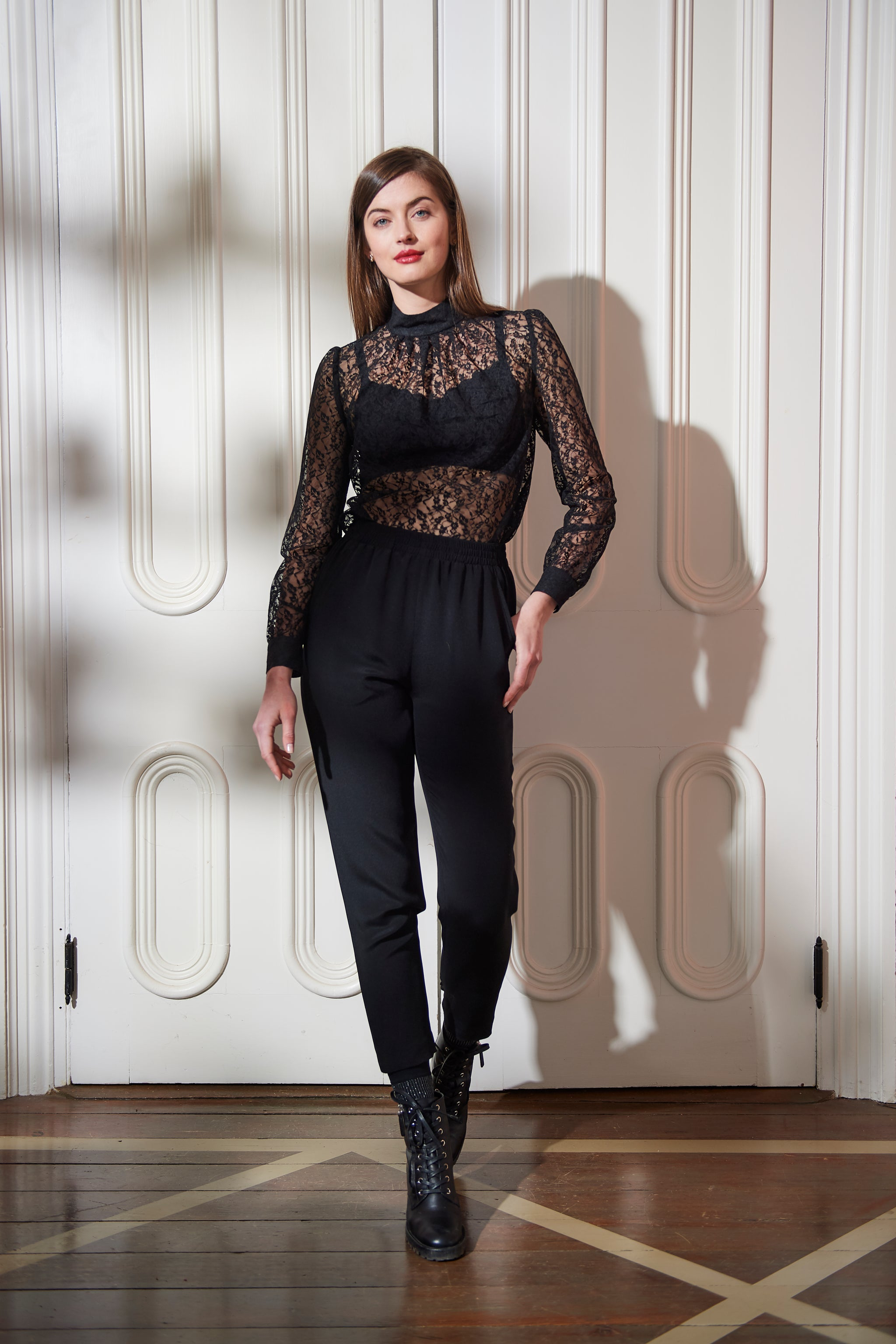 The Lady Blouse | Black Petite Floral Lace