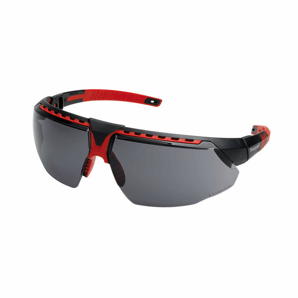 Honeywell 1034837 Safety Spectacles, AVATAR Safety Glasses Black/Red Frame Grey Lens