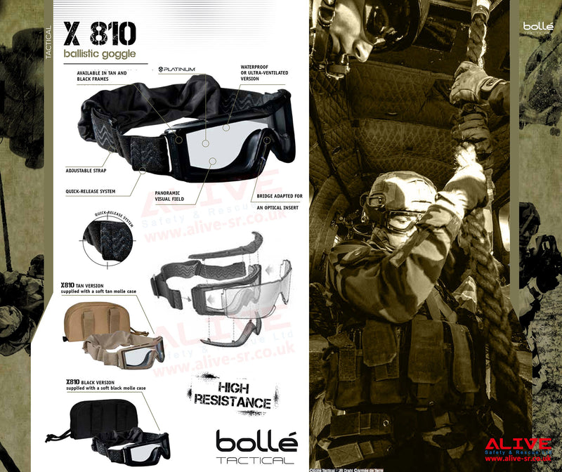 Bolle Tactical X810 Ballistic Goggles - Sand