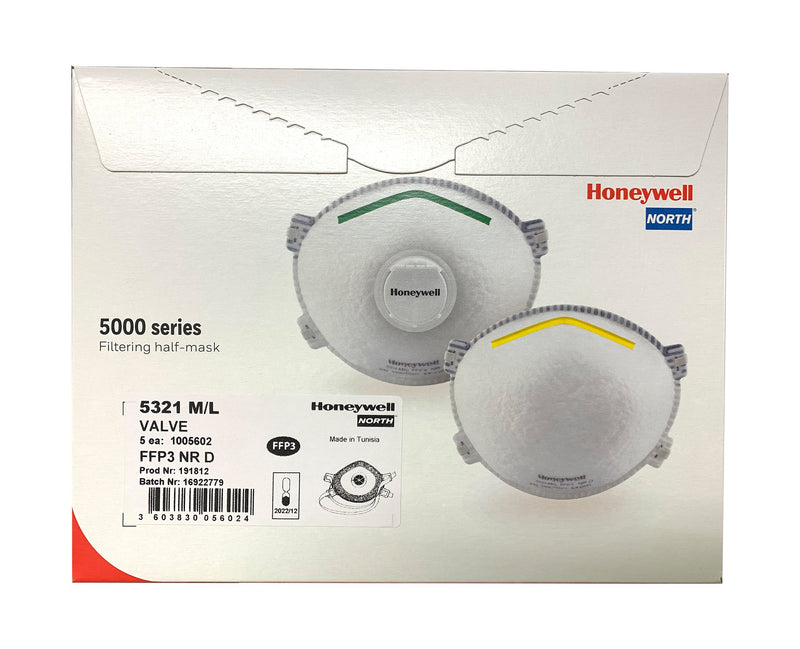 Honeywell 5321 M L Disposable Mask FFP3 NR D Box of 5