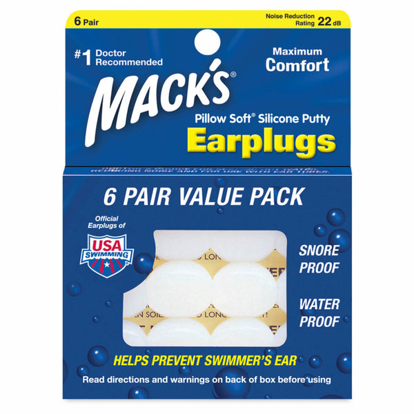 Mack's Pillow Soft Silicone Putty Ear Plugs 6 Pairs