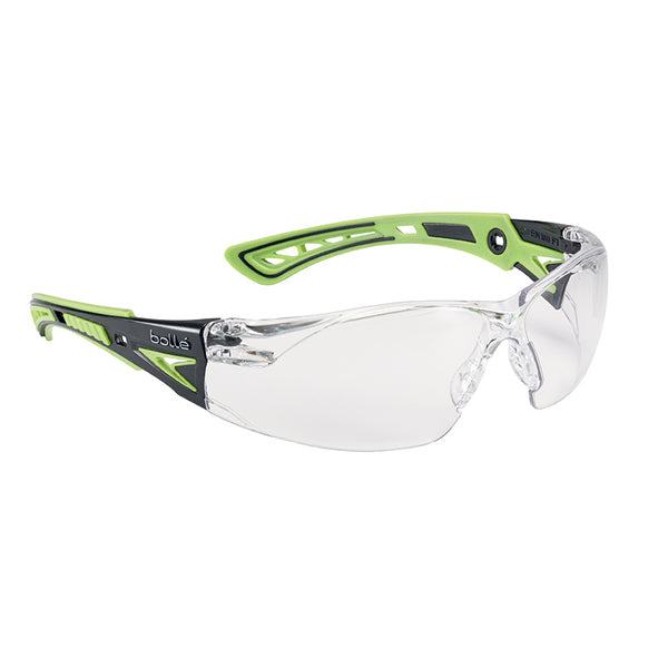 Bolle Safety Glasses bolle RUSH+ RUSHPPSIG  - Black/Green Temples Clear Lens