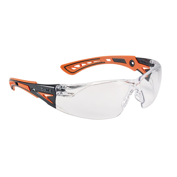 Bolle RUSH+ Safety Glasses - Black/Orange Temples Clear Lens