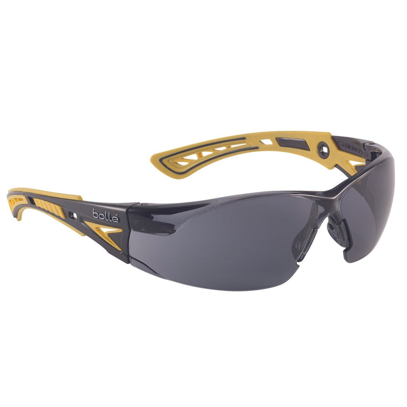 safety spectacles bolle Rush+ smoke lens black/yellow temples