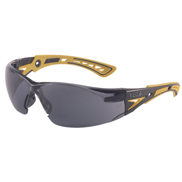 bolle Rush+ safety spectacles smoke lens black/yellow temples