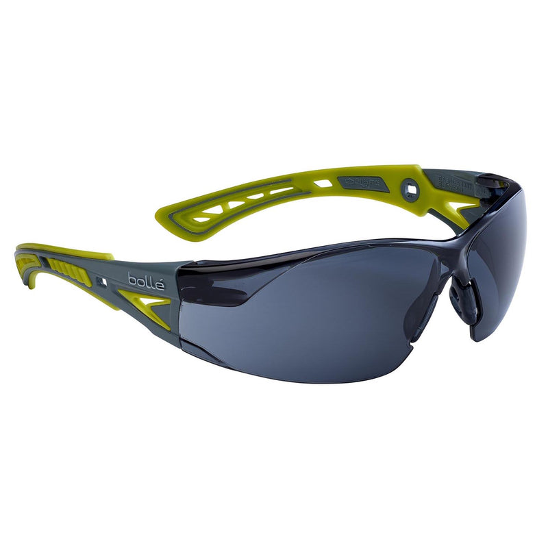 Bolle RUSH+ Small BL-RUSHPSPSFL Safety Glasses Grey/Yellow Temples Smoke Lens