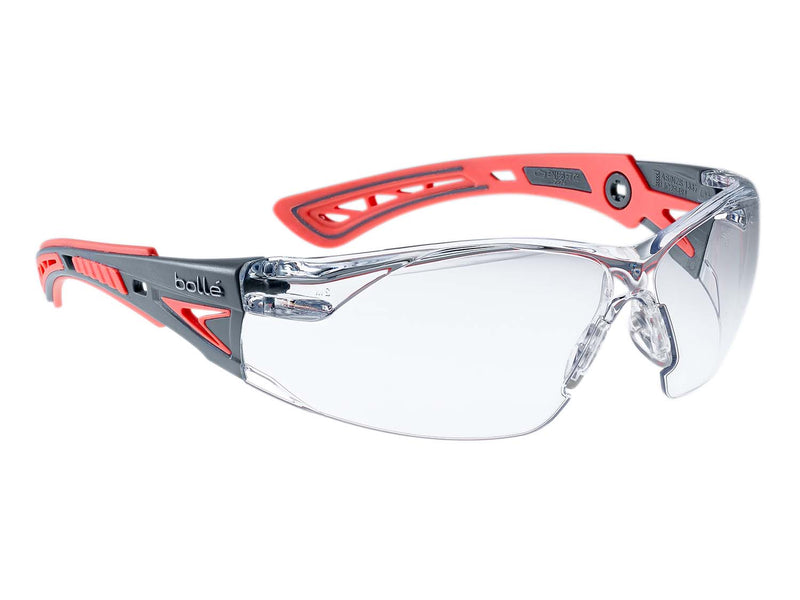 Bolle RUSH+ Small RUSHPSPSIS Safety Glasses Grey/Coral Temples Clear Lens