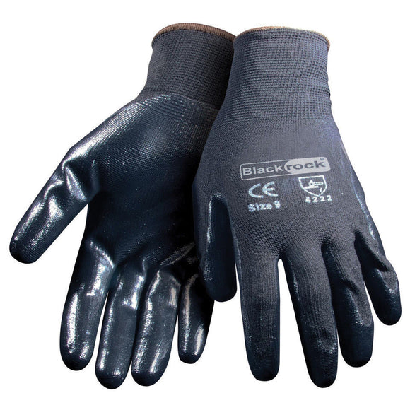 BlackRock 84302 Black Lightweight Super Grip Nitrile Gloves