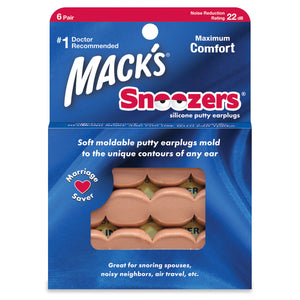 Mack's Snoozers Silicone Putty Ear Plugs 6 Pairs