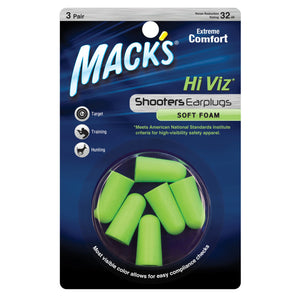 Mack's Shooters Hi Viz Soft Foam Ear Plugs 3 Pairs