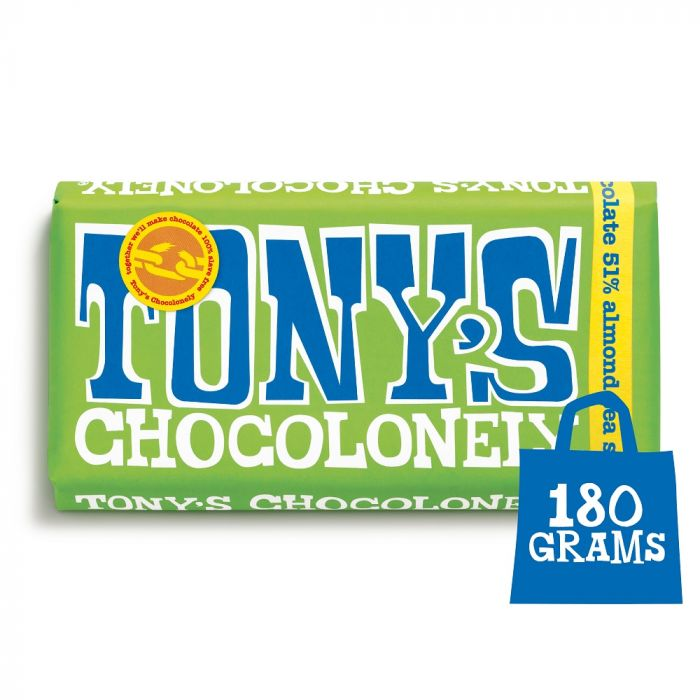 Tony's Chocolonely Dark Chocolate, Almond & Sea Salt Bar 180g