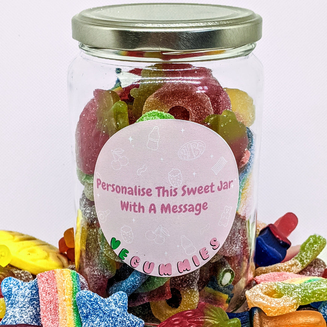 Vegan personalised sweet gift jar
