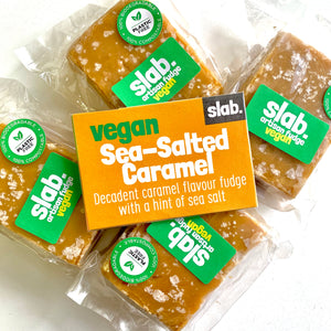 Vegan slab fudge sea salted caramel