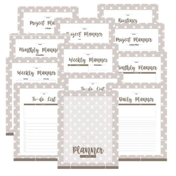 Basic Planner Kit - Gray Polka Dot