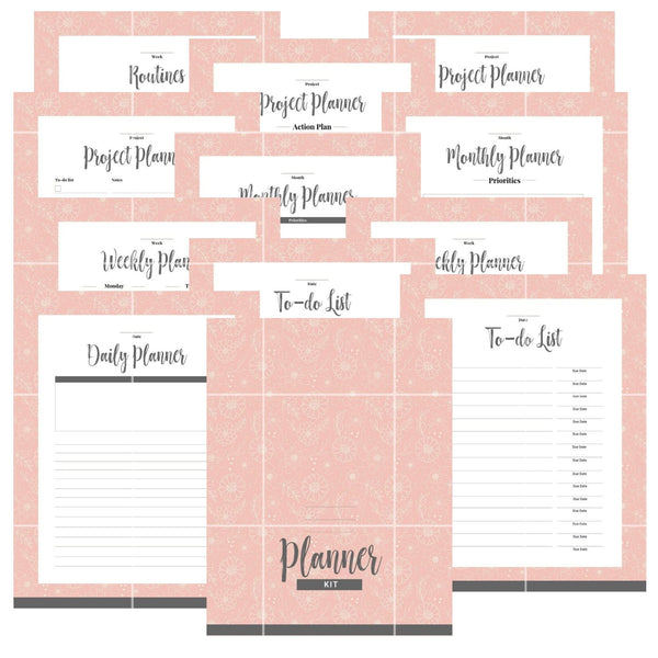 Basic Planner Kit | Pink Floral | Daily | Weekly | Monthly Planner | Project Planner | To Do Lists | Cover Page | DIY Planner | Routines