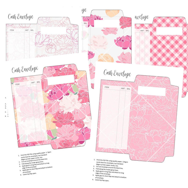 Printable Cash Envelopes - Peony Mix