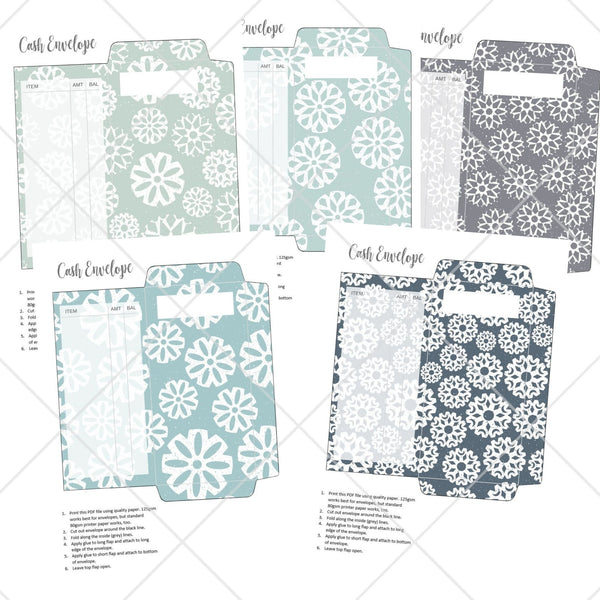 Printable Cash Envelopes - Snowflake 2 Design