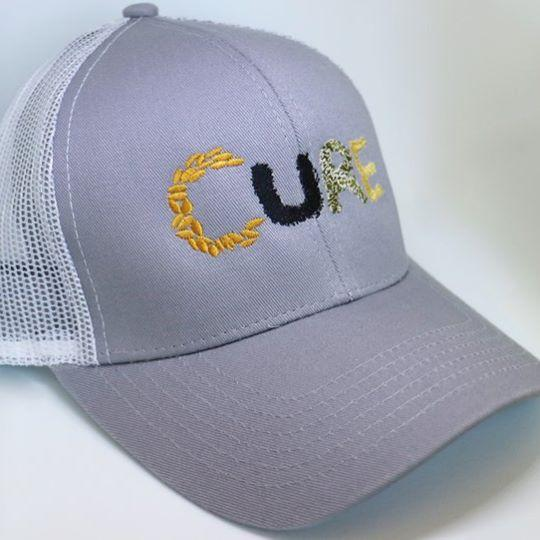 Curved Brim CURE Hat - Grey