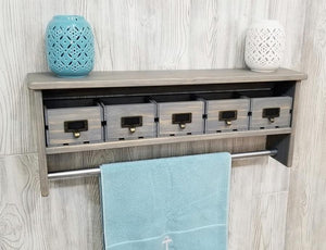 Long Bathroom Shelf with Towel Bar and Crate Drawers - Shelf