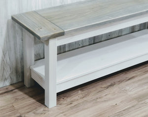 Classic Farmhouse Bench, with Storage Shelf