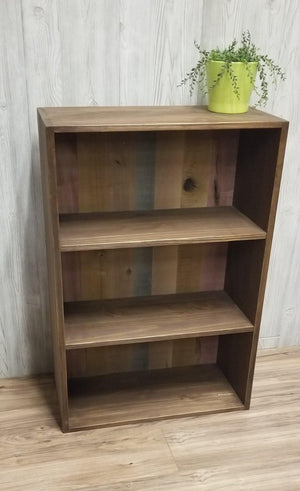 Small Rustic Bookshelf with Multi-colored Reclaimed Back - Shelf