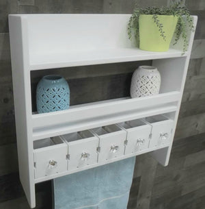 Large Bathroom Shelf with Towel Bar and Matching Crate Drawers - Shelf