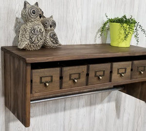 Large Bathroom Shelf with Towel Bar and Crate Drawers - Shelf