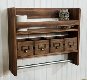 Bathroom Shelf with Towel Bar and Matching Crate Drawers - Shelf