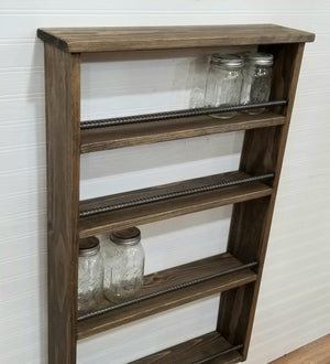 Large Spice Rack, Hot Sauce Display, Mason Jar Shelf