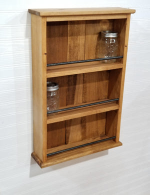 Spice Rack, Mason Jars, Hot Sauce Shelf